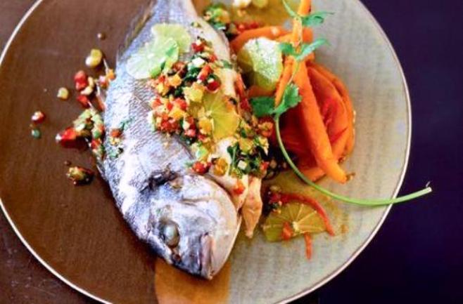 Скумрия със зеленчуци и тиква