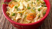 Пилешка супа с мащерка и паста